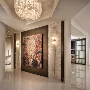 マイアミのコンテンポラリースタイルのおしゃれな玄関ロビー (白い壁) の写真