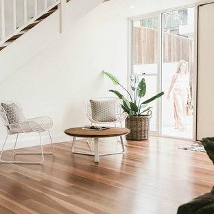 Ejemplo de distribuidor costero, de tamaño medio, con paredes blancas, suelo de madera en tonos medios, puerta pivotante y puerta verde