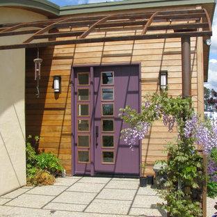 Modern inredning av en ingång och ytterdörr, med en enkeldörr och en lila dörr