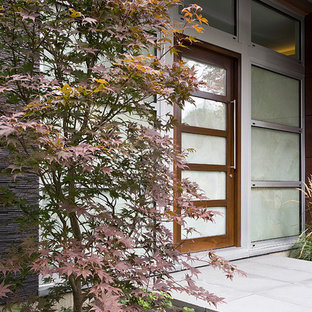 Example of a trendy entryway design in Chicago with a glass front door
