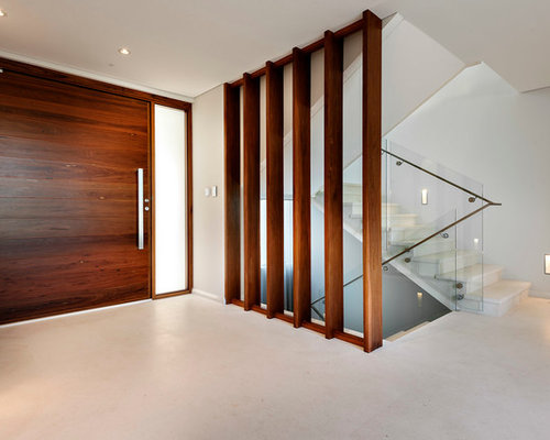 Inspiration for a contemporary pivot front door remodel in Perth with white walls and a dark & Door Partition | Houzz