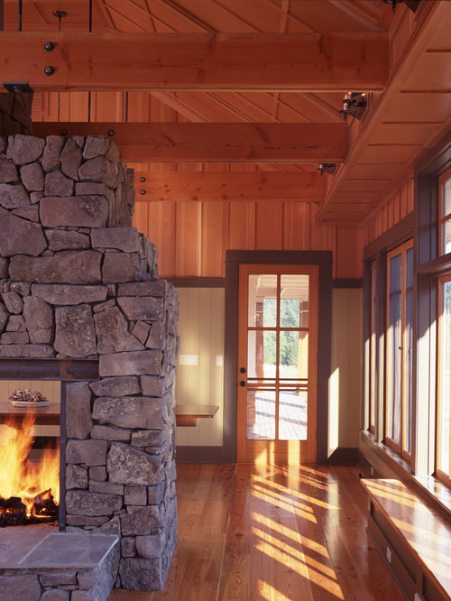 Two way fireplace houzz for 2 way fireplace