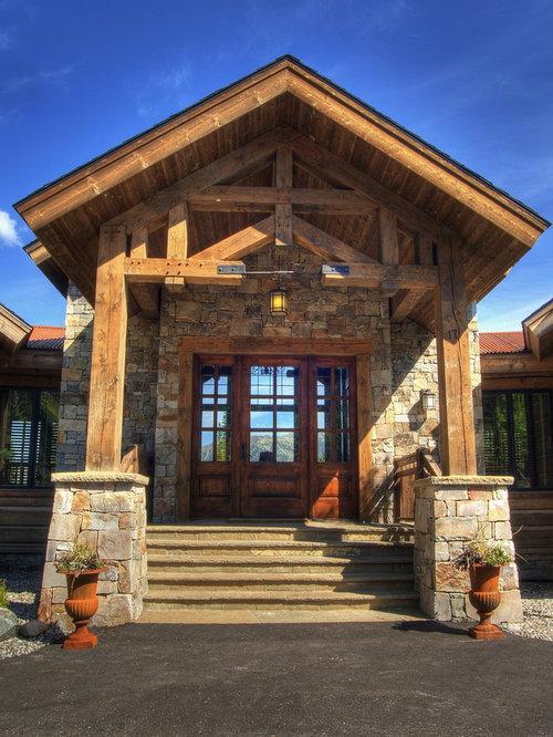 Timber Frame Entrance Home Design Ideas Pictures Remodel