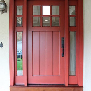 Entryway - mid-sized craftsman entryway idea in San Francisco with beige walls and a red front door