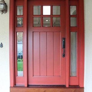 Mittelgroße Rustikale Haustür mit beiger Wandfarbe, Einzeltür und roter Tür in San Francisco
