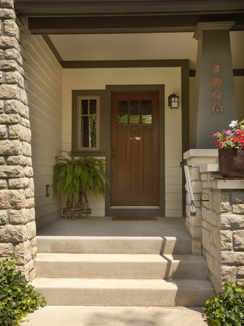 Craftsman front door houzz Plants next to front door