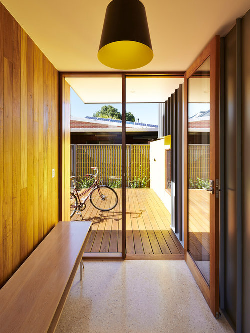 Inspiration For A Contemporary Mudroom In Adelaide With Brown Walls A Single Front Door And