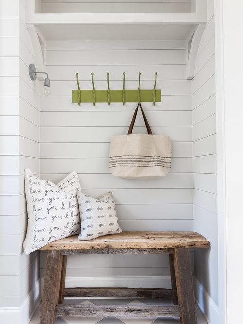 inspiration for a farmhouse multicolored floor entryway remodel in nashville with gray walls - Farmhouse Interior Design Ideas