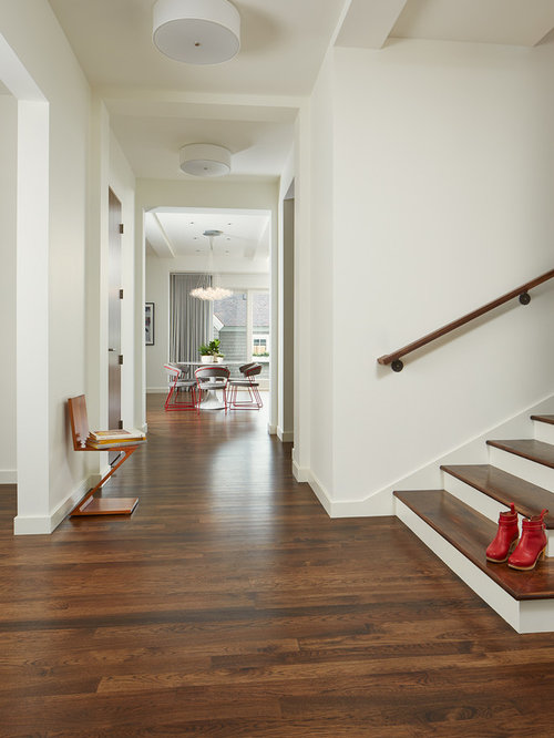 example of a trendy medium tone wood floor entry hall design in minneapolis with white walls