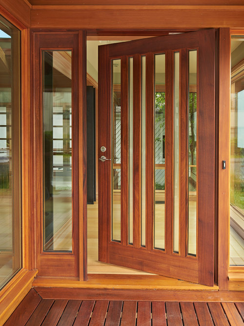 Wood and glass front door houzz trendy light wood floor entryway photo in seattle with a medium wood front door planetlyrics Images