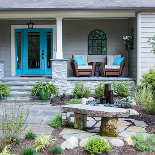 Curb Appeal with slate walkway