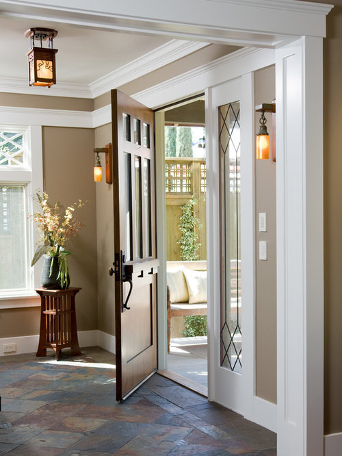 Arts And Crafts Entryway In San Diego With Brown Walls Slate Floors