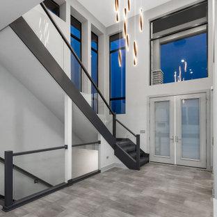 Cette image montre un grand hall d'entrée minimaliste avec un mur gris, une porte double, une porte en verre, un sol gris et un plafond voûté.