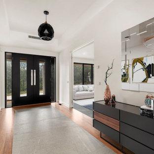 メルボルンの両開きドアモダンスタイルのおしゃれな玄関ロビー (濃色無垢フローリング、黒いドア、茶色い床、折り上げ天井、白い壁) の写真