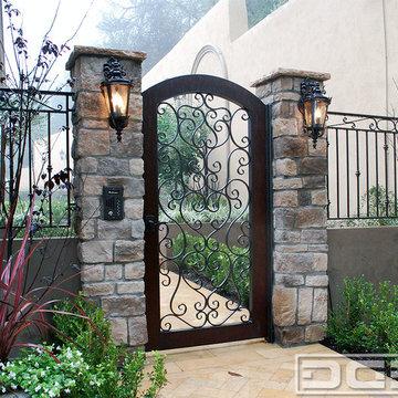Custom Mediterranean Scroll Iron Gate With Wood