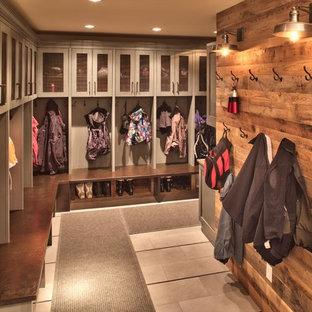 Mudroom Rustic Gray Floor Idea In Denver
