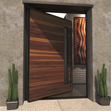 Custom Rustic Modern Pivot Entry Door