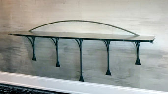 Custom Wall-Mounted Entry Table - view from kitchen