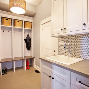Inspiration for a transitional mudroom remodel in Toronto