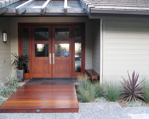front entrance doors. Example of a minimalist entryway design in San Diego with medium wood front  door Glass Front Entry Doors Houzz