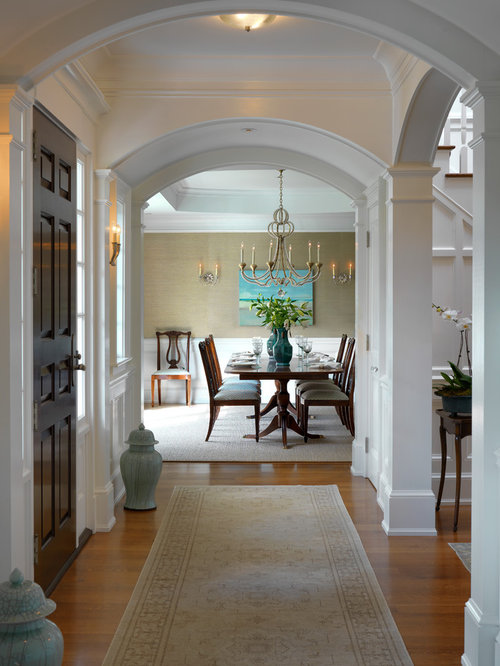 Traditional Entryway Idea In Boston With A Dark Wood Front Door