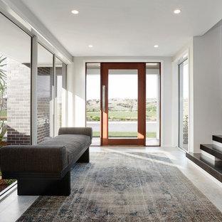Idéer för funkis foajéer, med vita väggar, en enkeldörr, glasdörr och grått golv
