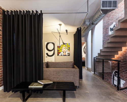 Example of a trendy entryway design in Other with concrete floors - Curtain Room Divider Houzz