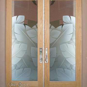 Double Entry Doors - Glass Front Doors - Exterior Glass Doors - BANANA LEAVES 3D