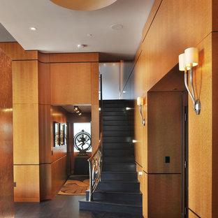 Inspiration for a contemporary black floor foyer remodel in Nashville
