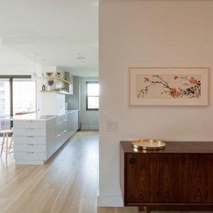 Kleiner Retro Eingang mit Foyer, weißer Wandfarbe, hellem Holzboden, Einzeltür, Metalltür und beigem Boden in New York