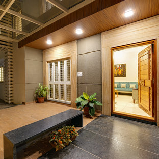 duplex bungalow in a apartment at ground floor was designed by culturals interio