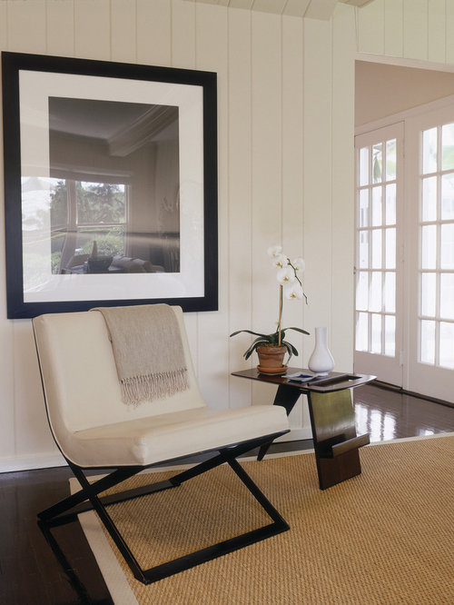 Painted Paneling Living Room: White Painted Wood Paneling