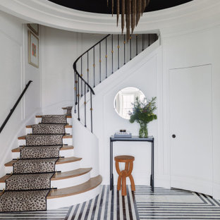 Inspiration for a contemporary multicolored floor and wall paneling entryway remodel in Chicago with white walls