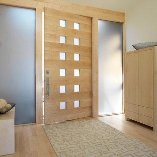 Idées déco pour une entrée moderne avec un couloir, un mur blanc, un sol en bois clair, une porte simple et une porte en bois clair.