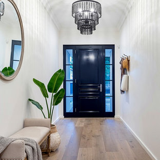Design ideas for a transitional foyer with white walls, medium hardwood floors, a single front door, a black front door and brown floor.