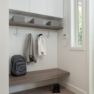 Идея дизайна: маленький тамбур в скандинавском стиле с белыми стенами и серым полом
