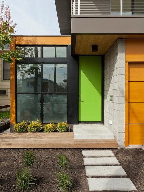 Green Front Door Tan House Houzz - Green front door