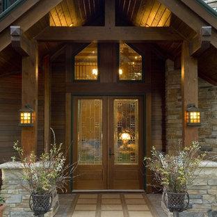 ミネアポリスの両開きドアラスティックスタイルのおしゃれな玄関ドア (ガラスドア) の写真