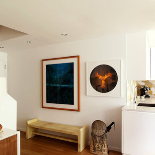 Example of a small trendy light wood floor entryway design in New York with white walls and a white front door