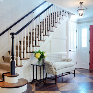 Inspiration for a timeless entryway remodel in DC Metro with a red front door