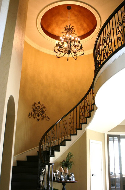 Traditional Entry Entry dome and custom wrought iron railing