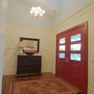 Entry door with custom leaded glass