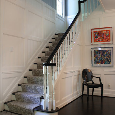 Large trendy foyer photo in St Louis with blue walls
