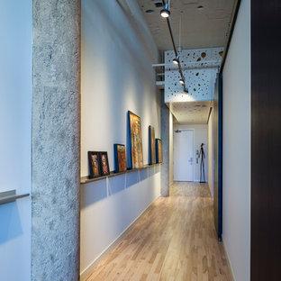 Imagen de hall industrial, grande, con paredes blancas, suelo de madera clara, puerta simple y puerta blanca