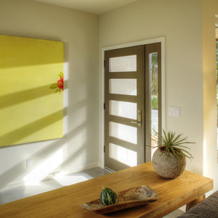 This is an example of a mid-sized contemporary front door in Sacramento with concrete floors, white walls, a single front door, a glass front door and grey floor.