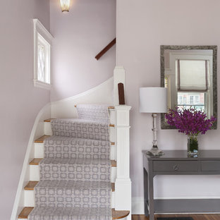Example of a classic entryway design in Boston with purple walls