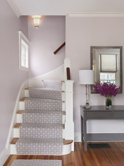 Entry Wall Color Purple Example of a classic entryway design in Boston with purple walls