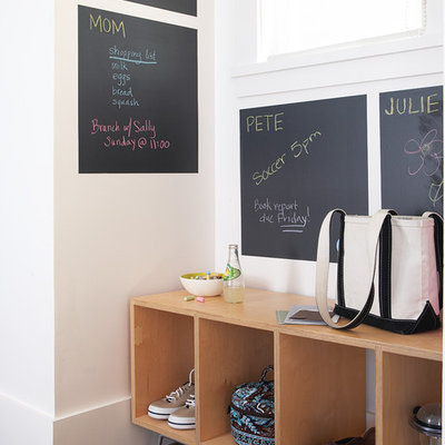 Mudroom - large transitional dark wood floor mudroom idea in San Francisco with white walls