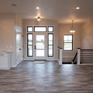 Ejemplo de puerta principal moderna, grande, con paredes grises, suelo vinílico, puerta simple, puerta blanca y suelo marrón