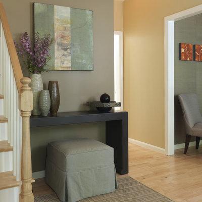 Inspiration for a timeless light wood floor foyer remodel in Boston